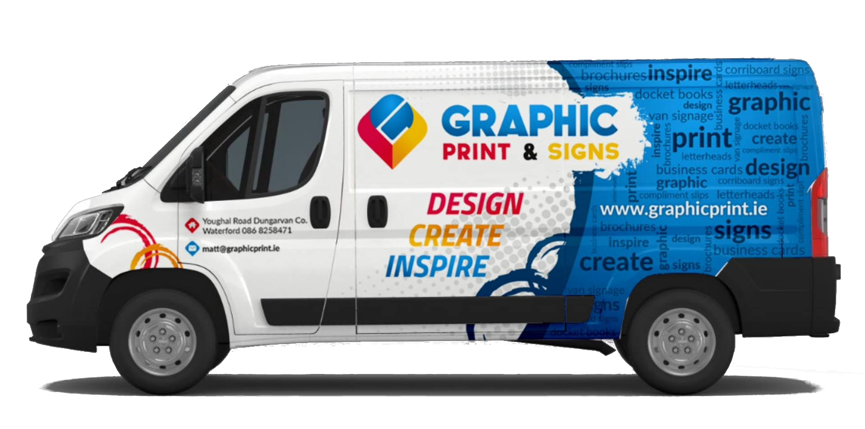 Graphic Pint and signs Ireland van wrap